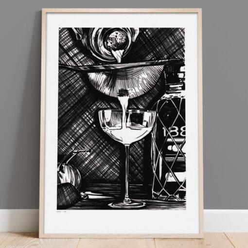 Pour it up - Handmålad print