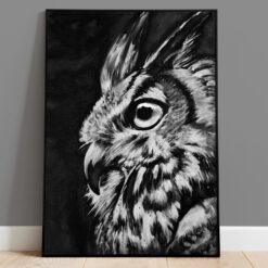 Uggla - Handmålad print